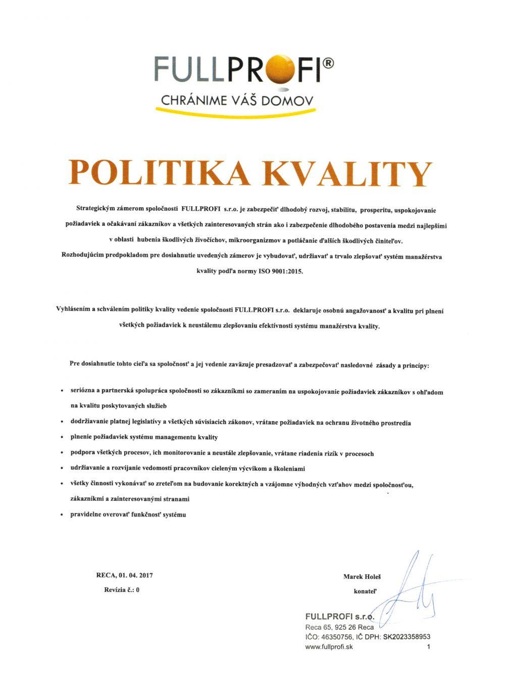 Politika kvality scan